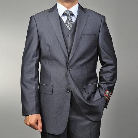 Mens 2 Button Vested 3 Piece Suit Grey Teakweave Cheap