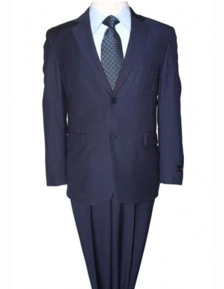 Boy's 2 Piece Ultra Slim Fit Notch Lapel Single Navy Solid Suit