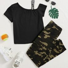 Girls Asymmetrical Neck Tee & Camo Pants Set