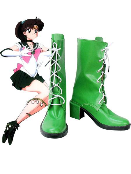 Milanoo Halloween Sailor Moon Sailor Jupiter Kino Makoto Zapatos Cuero Imitado