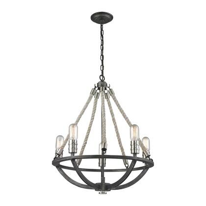 63056-5 Natural Rope 5 Light Chandelier in Silvered Graphite/Polished Nickel
