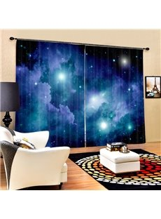 3D Brilliant Night Sky Galaxy Printed 2 Panels Living Room Polyester Curtain