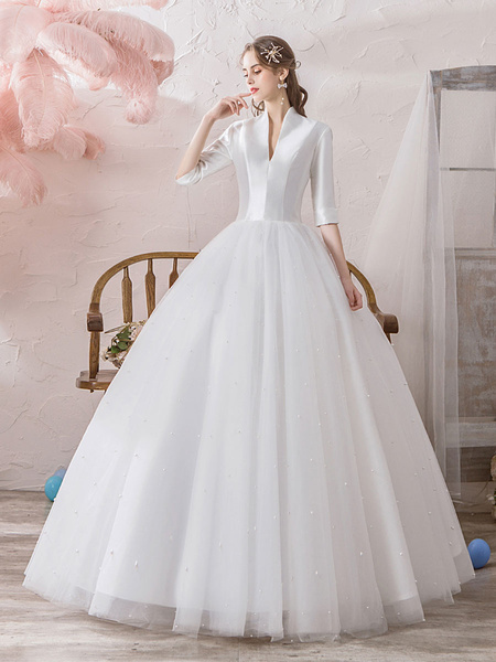 Milanoo Vintage Wedding Dresses Princess High Collar Half Sleeve Floor Length Tulle Traditional Bridal Gowns