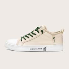 Maenner Segeltuch Schuhe mit Band vorn