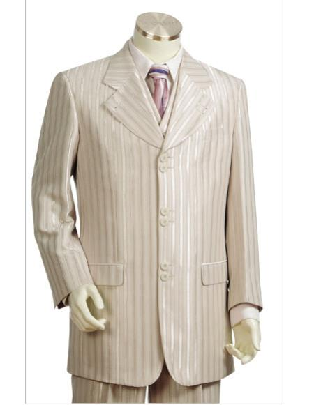 Mens stripe Single Breasted taupe long suit