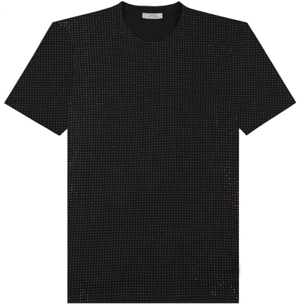 Versace Collection Gold Studded T-Shirt Black  Colour: BLACK, Size: SMALL