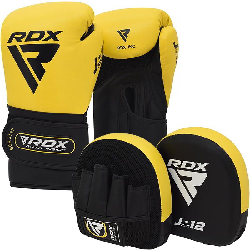 RDX J12 Ensemble De Gants De Boxe Et De Pattes dours  De 6 Oz Pour Enfants Jaune