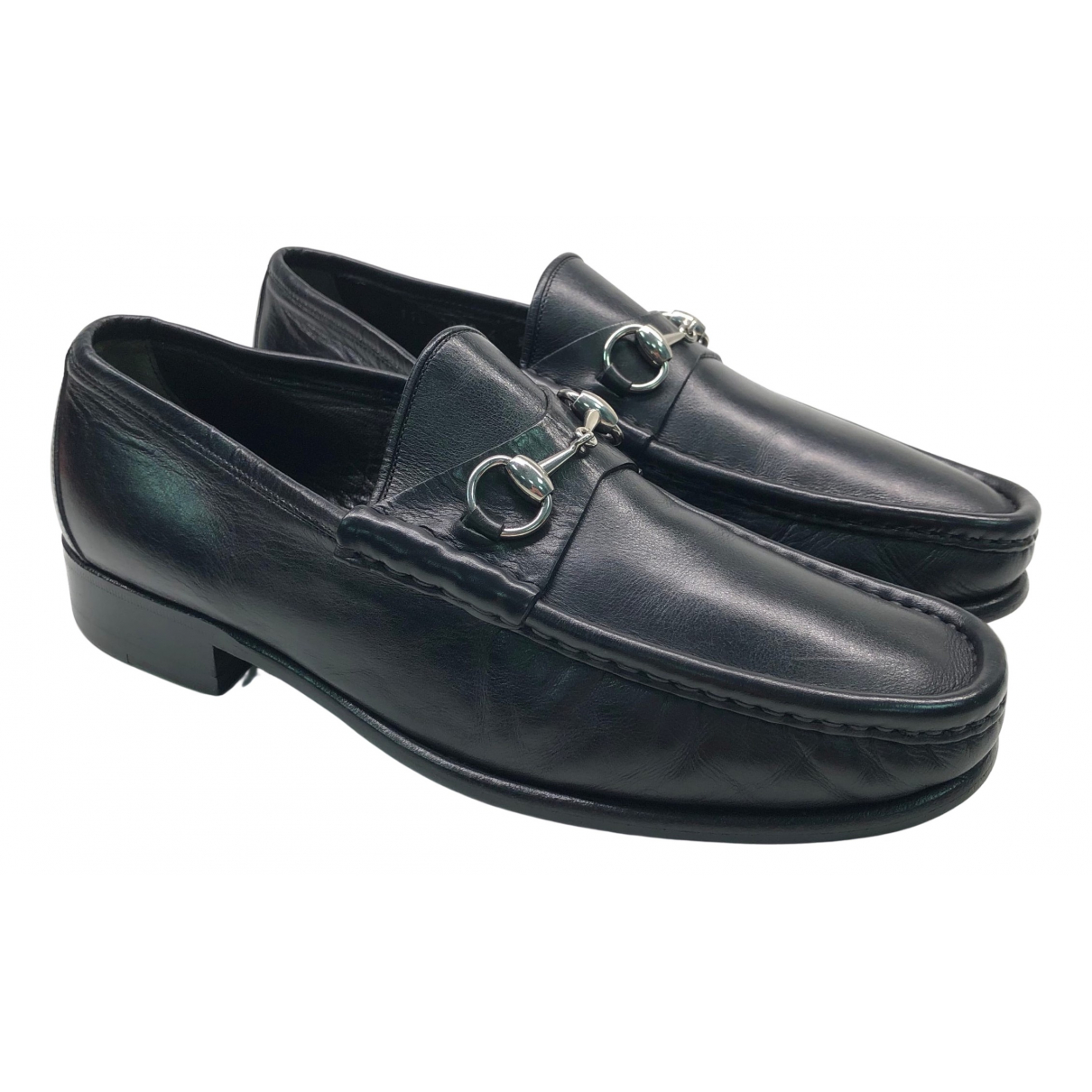 Gucci N Black Leather Flats for Men 44 EU