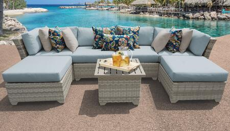 Fairmont Collection FAIRMONT-07a-SPA 7-Piece Patio Set 07a with 2 Armless Chair   2 Ottoman   1 End Table   1 Left Arm Chair   1 Right Arm Chair -