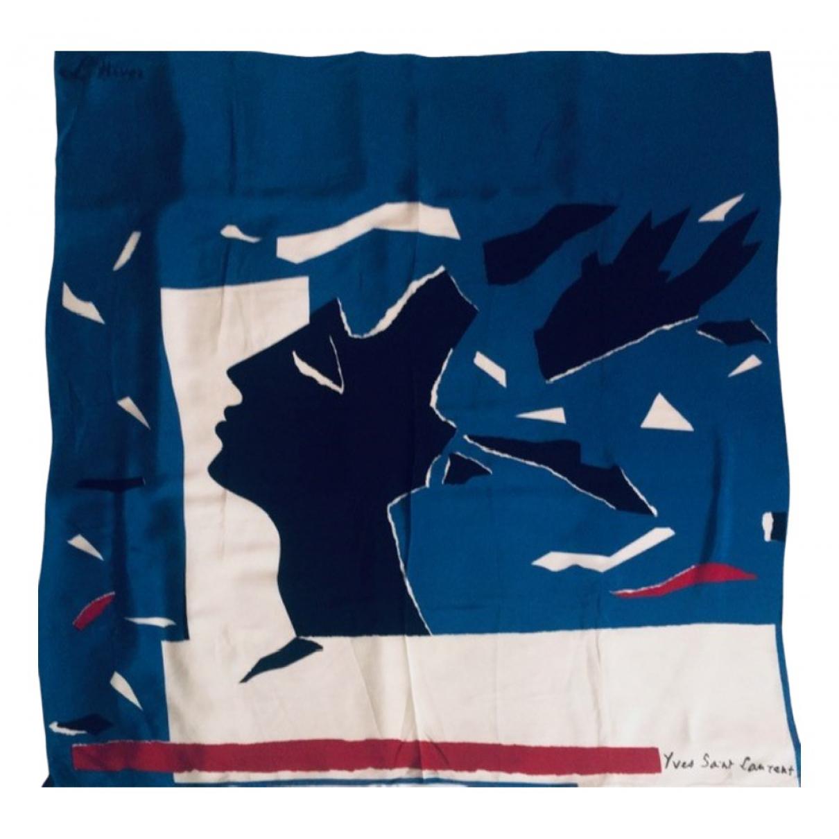 Yves Saint Laurent - Foulard   pour femme en soie - bleu