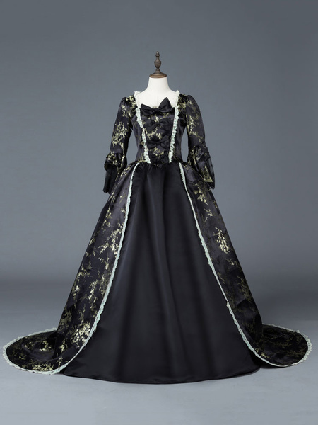 Milanoo Victorian Dress Costume Womens Dark Black Matte Satin Floral Print Dress Marie Antoinette Costume Women Victorian Era Style Set 18th Century