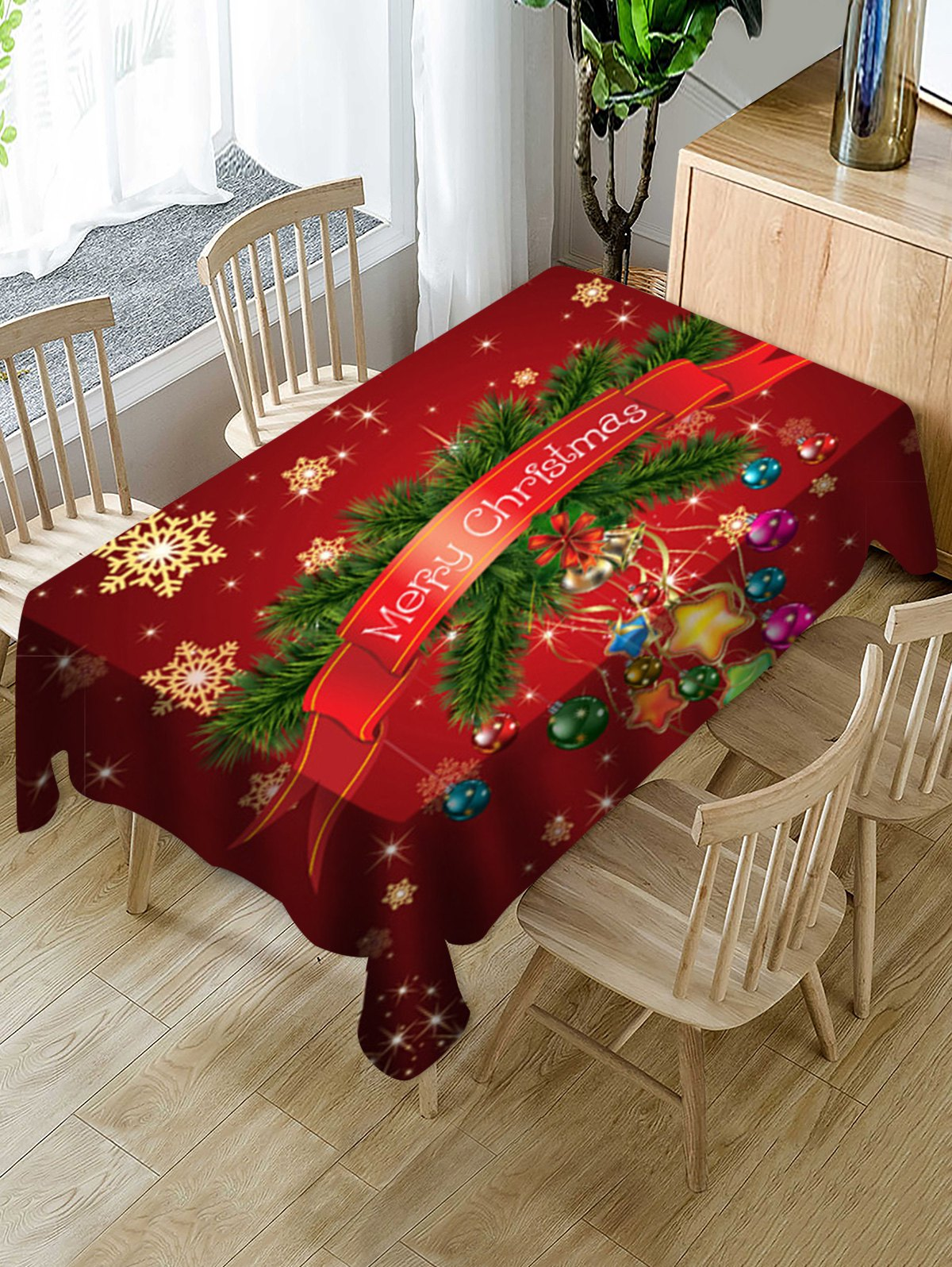 Merry Christmas Snowflake Print Fabric Waterproof Tablecloth