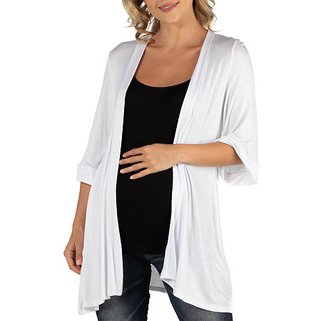 24/7 Comfort Apparel Open Front Elbow Length Sleeve Cardigan, Medium , White
