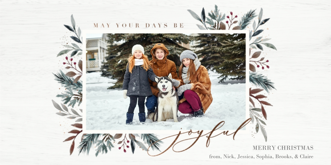 Christmas Photo Cards Flat Matte Photo Paper Cards with Envelopes, 4x8, Card & Stationery -Frost Forest