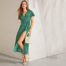 Split Thigh Surplice Wrap Belted Dress