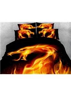 Fire Dragon 3D Warm Comforter Soft Lightweight 5-Piece Comforter Sets