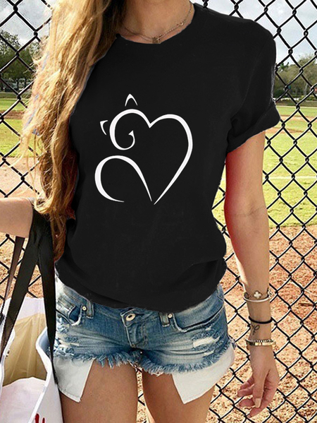 Yoins Heart Cat Print Crew Neck Short Sleeves Tee