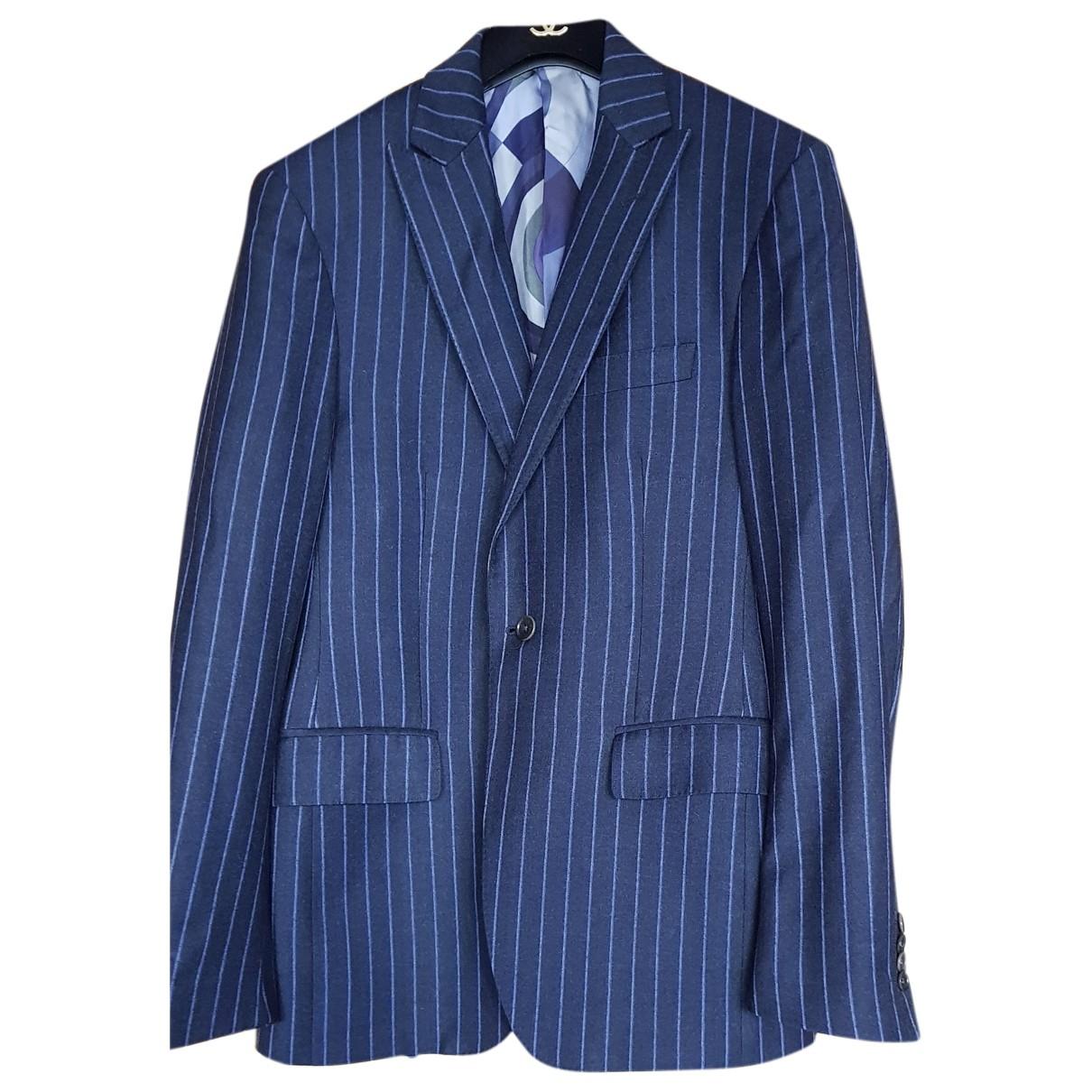 Etro N Blue Wool jacket  for Men 48 IT