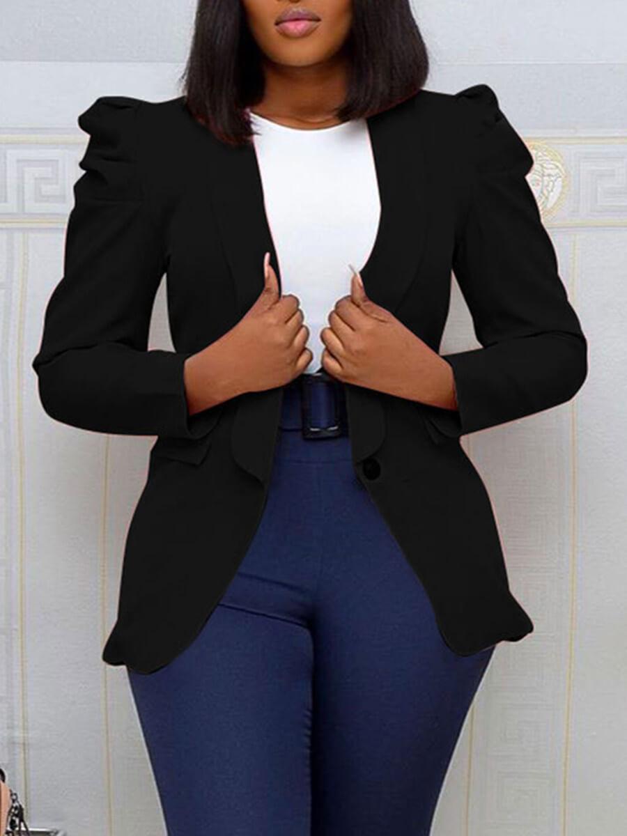 LW Lovely Stylish Turndown Collar Fold Design Black Blazer