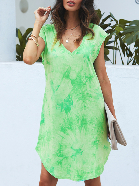YOINS Green V-neck Tie Dye Cap Sleeves Dress