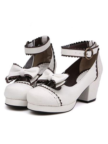 Milanoo Zapatos de lolita de PU con lazo de puntera redonda para ocasion informal