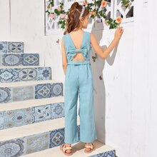 Girls Bow Cut Out Back Belted Cami Jumpsuit