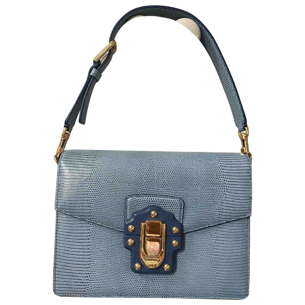 Dolce & Gabbana - Sac a main Lucia pour femme en lezard - bleu