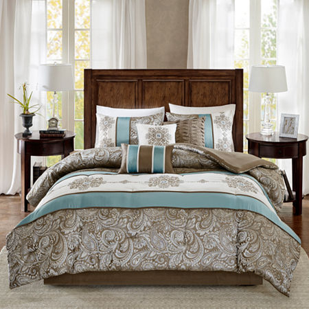 Madison Park Lorraine Jacquard 7-pc. Comforter Set, One Size , Blue