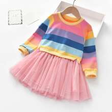 Toddler Girls Rainbow Striped Mesh Panel Dress
