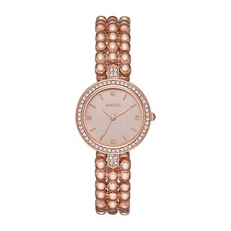 Geneva Womens Crystal Accent Rose Goldtone Bracelet Watch-Fmdjm208, One Size , No Color Family