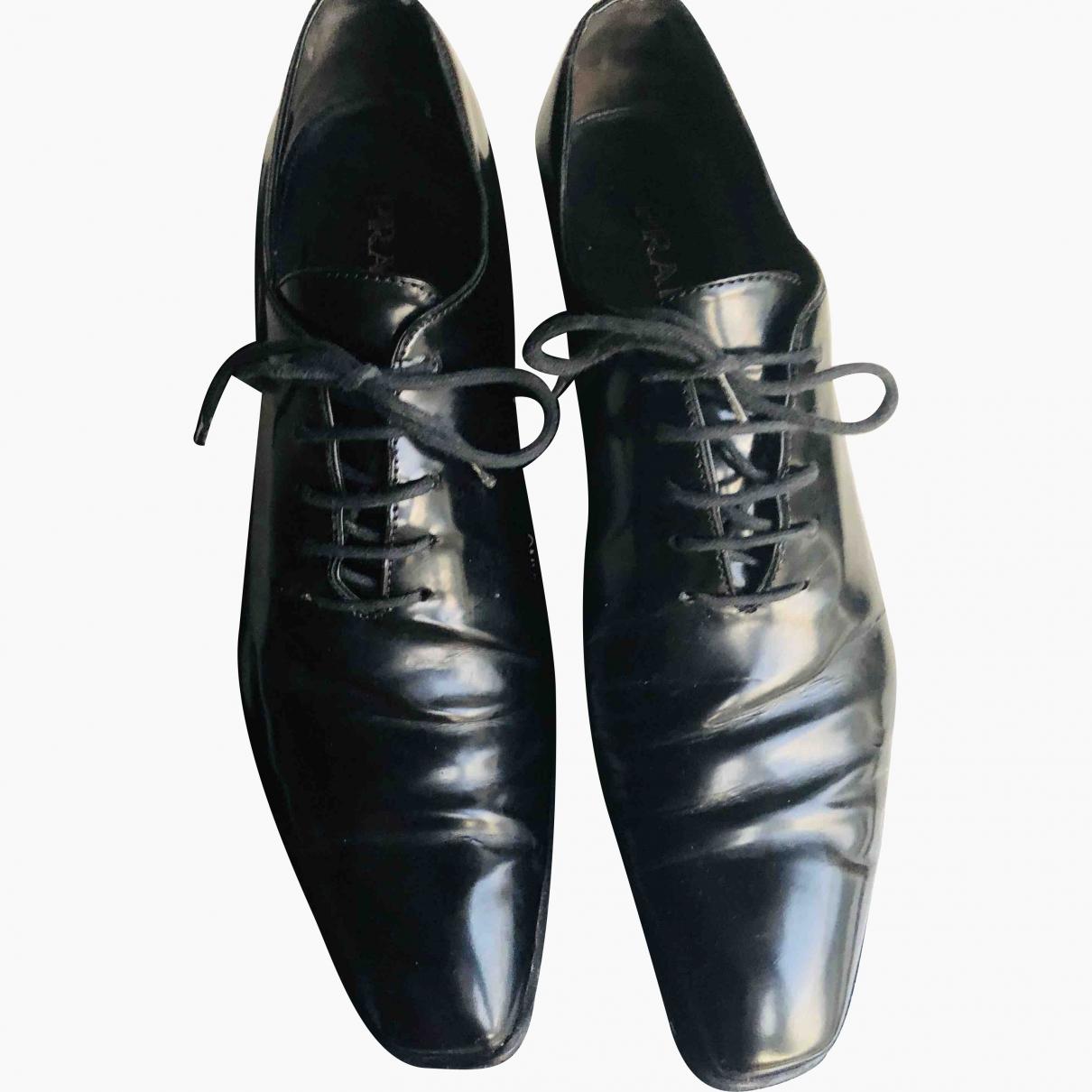 Prada \N Black Leather Lace ups for Women 38.5 EU