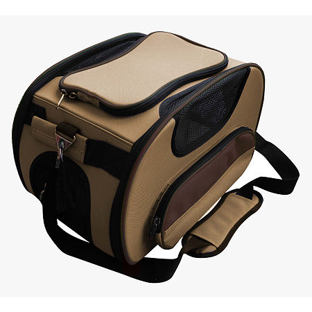 The Pet Life Airline Approved Sky-Max Modern Collapsible Pet Carrier, One Size , Brown