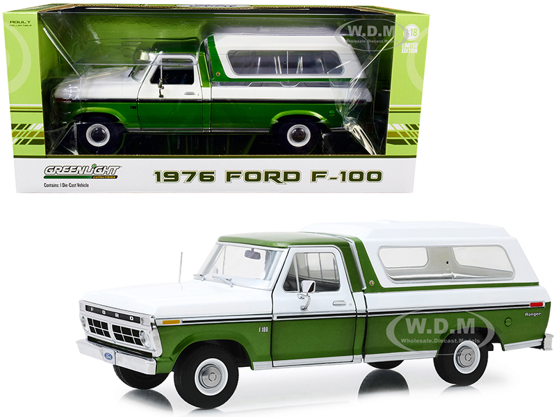 1976 Ford F-100 Ranger Pickup Truck with Deluxe Box Cover Medium Green Glow Metallic and Wimbledon White 1/18 Diecast Model Car by Greenlight