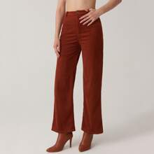 Zipper Fly Solid Cord Palazzo Pants