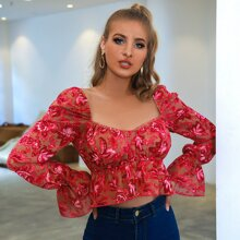 Double Crazy Sweetheart Neck Floral Peplum Top
