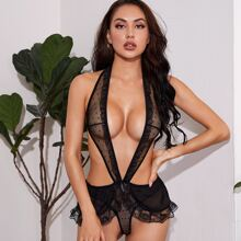 Dobby Mesh Lace Trim Cut-out Plunging Teddy Bodysuit