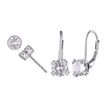 DiamonArt White Cubic Zirconia Sterling Silver 2 Pair Earring Set, One Size , No Color Family