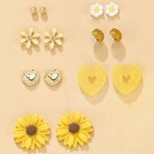 7pairs Flower Shaped Stud Earrings