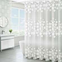 Duschvorhang mit Blumen Muster & 12 Stuecke Haken