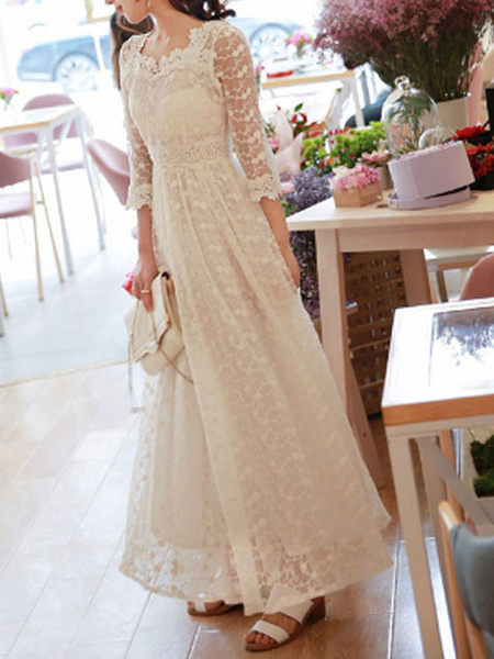 Milanoo Wedding Dress 2020 A Line V Neck 3/4 Length Sleeves Ankle Length Lace Bridal Gowns