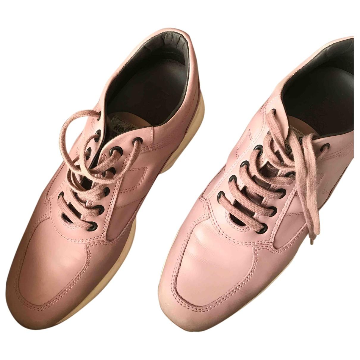 Hogan - Baskets   pour femme en cuir - rose