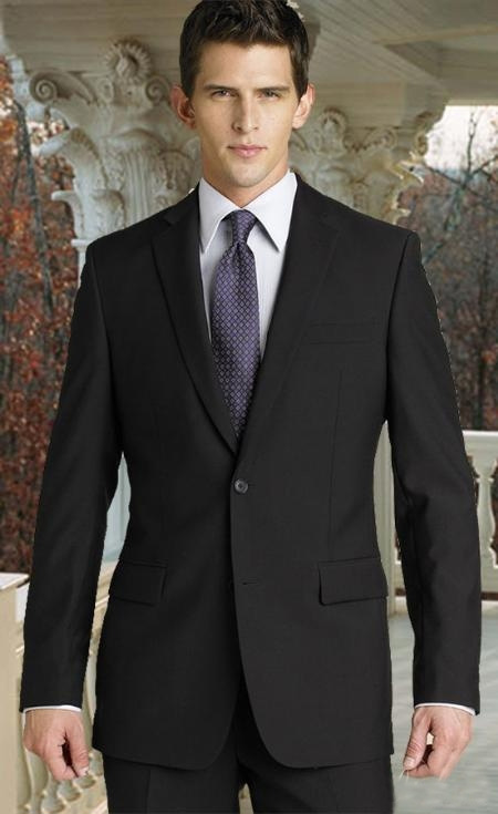 Charcoal 2Button Supers 2pc Wool Suit with Hand Stitching on Lapel