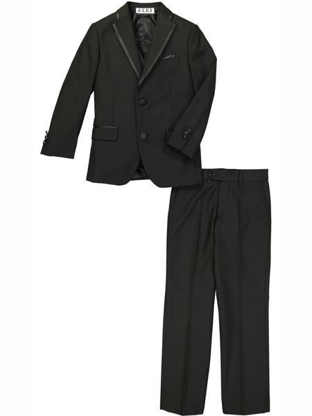 3 Piece Notch Lapel Black Tuxedo Suit