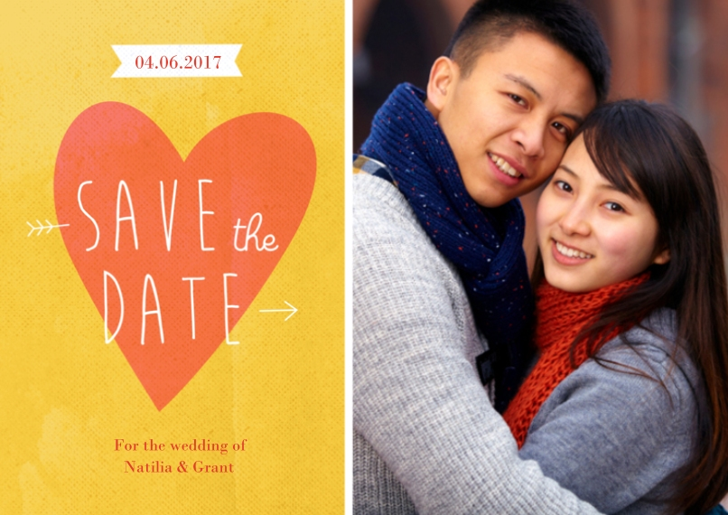 Save the Date 5x7 Cards, Premium Cardstock 120lb with Elegant Corners, Card & Stationery -Save the Date Heart