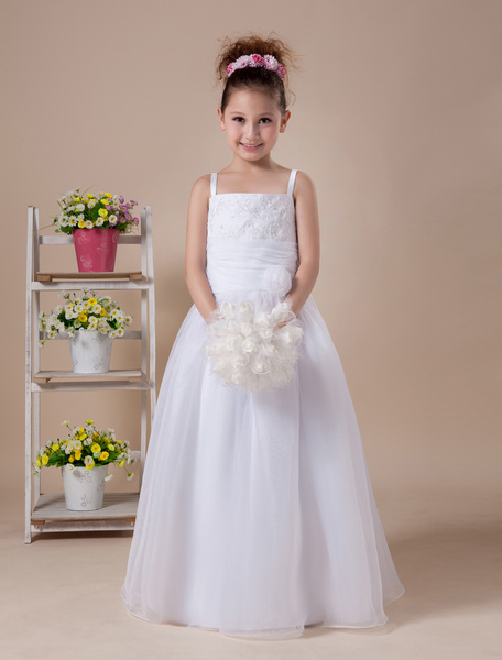 Milanoo A-line White Embroidered Floor-Length First Communion Dress