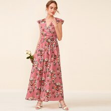 Surplice Neck Ruffle Armhole Floral Top & Flare Skirt Set