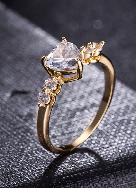 Milanoo Women's Engagement Ring Gold Heart Crystal Copper Round Rings