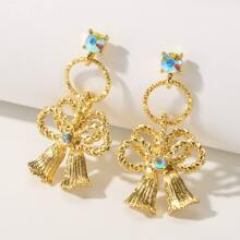 1pair Rhinestone Decor Bow Decor Earrings