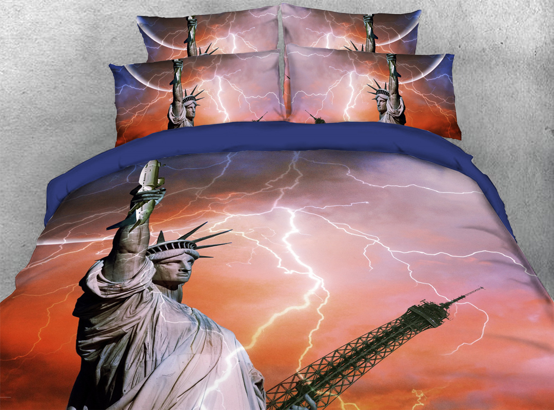 The Statue of Liberty 3D Famous Sights 4Pcs Soft Duvet Cover with Zipper Closure