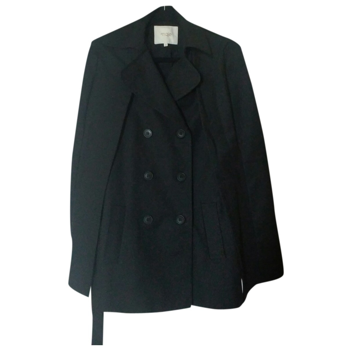 Maje N Black Cotton Trench coat for Women 36 FR